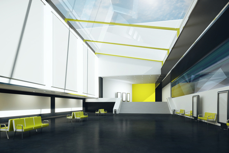 black floor: Interior with blank posters, yellow benches and black floor. Mock up, 3D Rendering