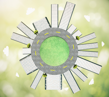 urbanization: Urbanization concept with buildings and road on globe. Abstract green background, 3D Rendering Stock Photo