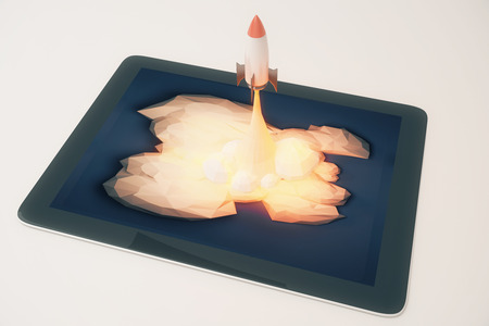 pad: Start up concept with abstract rocket launching from pad screen on light grey background. 3D Rendering