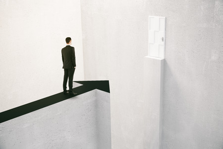 Concept of overcoming obstacles with businessman standing on arrow poiting at door with gap