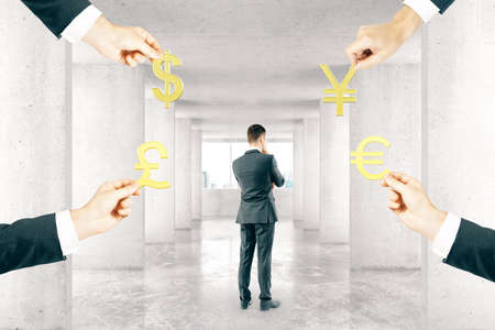 four hands: Thoughtful businessman in interior with four hands holding pound, euro, dollar and yuan signs. 3D Rendering