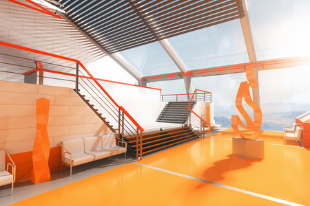 art piece: Sideview of futuristic orange interior with stairs,  panoramic windows and abstract fire art piece in the middle. 3D Rendering