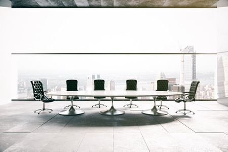 city view: Concrete conference room interior with city view. 3D Rendering