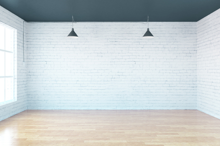 white office: Interior with blank brick wall, wooden floor and window. Mock up, 3D Redering Stock Photo
