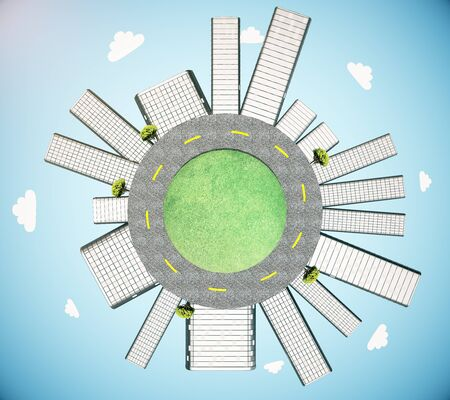 urbanization: Urbanization concept with buildings and road on globe in sky. 3D Rendering