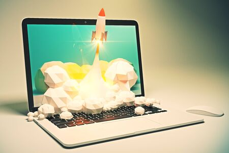 emarketing: Startup concept with rocket flying out of laptop screen on grey background. Sideview, 3D Rendering Stock Photo