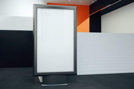 black floor: Front view of blank billboard in room with black floor and stairs. Mock up, 3D Rendering Stock Photo