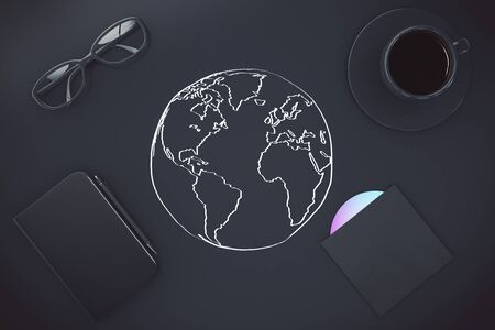 globe terrestre dessin: Voyager concept avec des croquis monde, tasse à café, cd, bloc-notes avec un stylo et des lunettes. rendu 3D