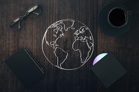 globe terrestre dessin: Voyager concept avec des croquis monde, tasse à café, cd, bloc-notes avec un stylo et des lunettes sur la surface en bois. rendu 3D Banque d'images