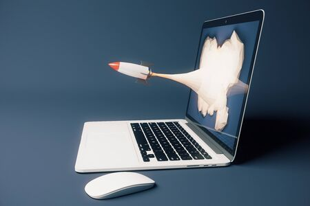 emarketing: Startup concept with rocket flying out of laptop screen on dark background. Sideview, 3D Rendering