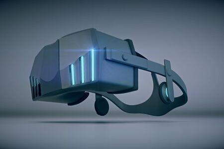 virtual reality simulator: Virtual reality glasses on grey background. Closeup, 3D Rendering