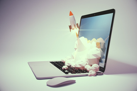 Startup concept with rocket flying out of laptop screen on light grey background. Sideview, 3D Rendering