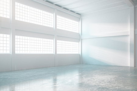 daylight: Bright empty hangar interior with concrete floor and daylight. 3D Rendering