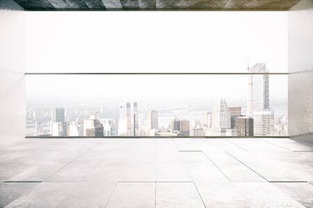 city view: Empty concrete room interior with city view. 3D Rendering