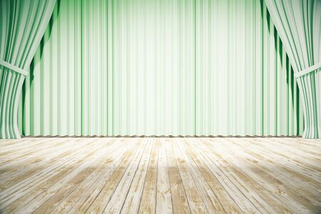 curtain up: Stage design with drawn green curtains and wooden floor. Mock up, 3D Rendering