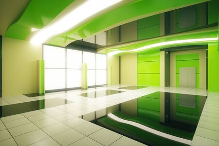 unfurnished: Sideview of unfurnished green futuristic interior design. 3D Rendering