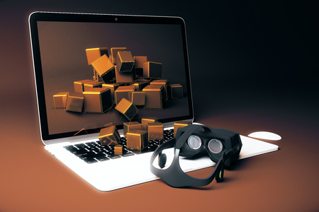 virtual reality simulator: Virtual reality glasses next to notebook with square blocks falling out of screen on brown background. 3D Rendering Stock Photo