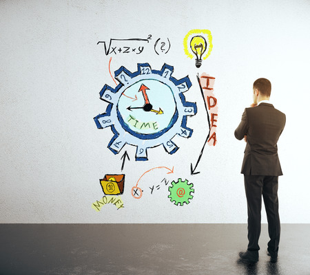 management concept: Time management concept with businessman looking at clock gear sketch Stock Photo