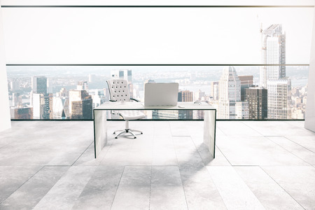 white office: Office interior with workplace and city view. 3D Rendering