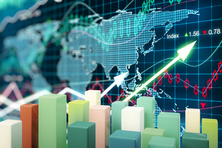 correlation: Abstract colorful chart bars on forex graph background. 3D Rendering