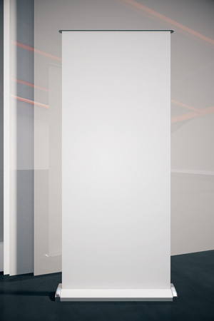 blank poster: Closeup of blank poster in room with black floor and gray wall. Mock up, 3D Rendering