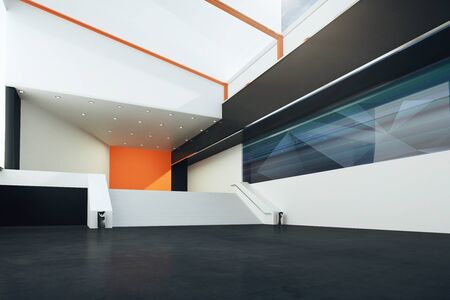futuristic interior: Sideview of futuristic interior with stairs, black floor, orange and white walls. 3D Rendering Stock Photo