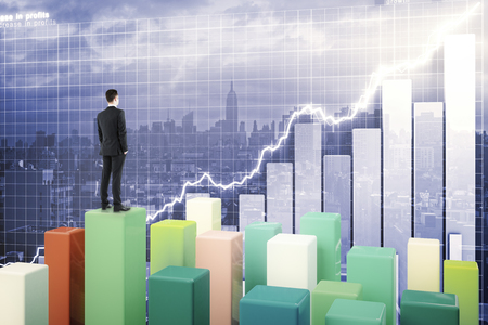 Fund manager standing on chart bars and looking at business graph on abstract city background. 3D Rendering Stock Photo