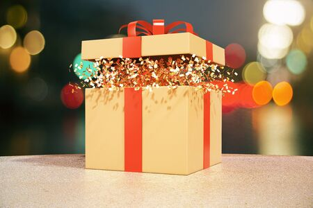 blurry lights: Desktop with opened gift box with blurry lights in the background. 3D Rendering Stock Photo
