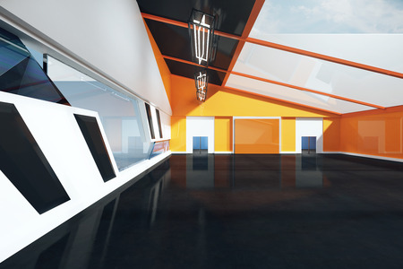 black floor: Front view of loft interior with black floor, orange and white wall and window. 3D Rendering