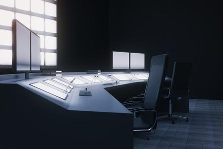 Vue de côté de la salle de sécurité intérieure avec des chaises, des moniteurs et des écrans blancs. rendu 3D