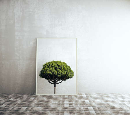 nature photo: Picture frame with tree image in room with concrete wall and brick tile floor. 3D Rendering