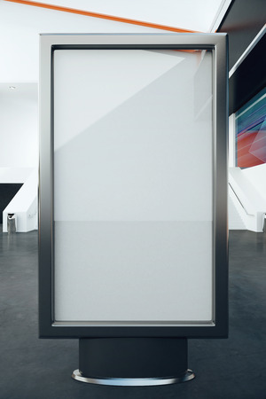 bill board: Blank glass billboard in interior. Mock up, 3D Rendering