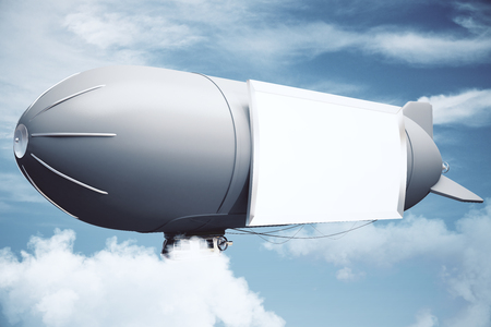 sideview: Sideview of airship with blank billboard in the sky. Mock up, 3D Rendering
