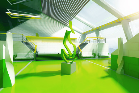stairs interior: Futuristic green interior with stairs, panoramic windows and abstract fire art piece in the middle. 3D Rendering Stock Photo