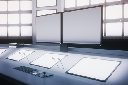 copy center: Side view of blank monitors and screens on security desk. Mock up, 3D Rendering
