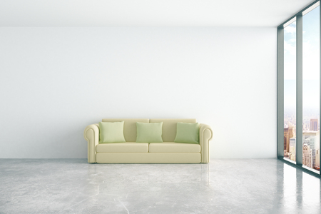green couch: Concrete interior with comfortable green couch and window with city view. 3D Rendering