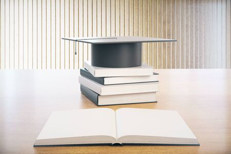 Graduation concept with books and graduation cap on wooden desktop with planks in the background. 3D Rendering
