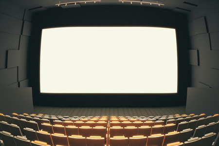 fish eye lens: Cinema hall interior with rows of seats, patterned walls, ceiling with lamps and blank white screen. Fish eye lens. Mock up, 3D Rendering