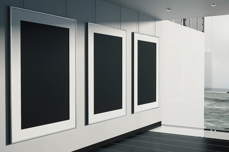 Black Picture Frames In Room With Concrete Wall, Black Floor.. Stock ...