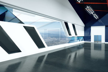 black floor: Modern loft interior with black floor, grey and blue walls and city view. 3D Rendering Stock Photo