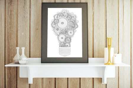 decorative items: White shelf with decorative items and picture frame with abstract gear lightbulb. Idea concept, 3D Rendering Stock Photo