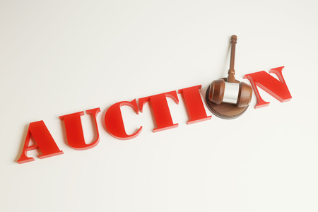adjudicate: Top view of wooden auction gavel on light background Stock Photo
