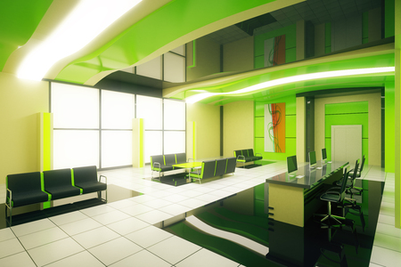 business reception: Sideview of green business interior with reception. 3D Rendering