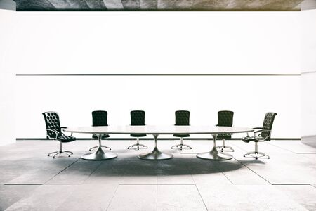 conference room: Concrete conference room interior. 3D Rendering Stock Photo