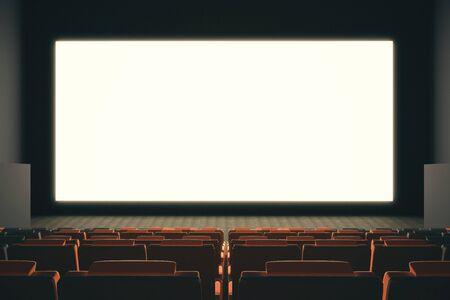cinema screen: Large empty cinema screen witn rows of seats. Mock up, 3D Rendering Stock Photo