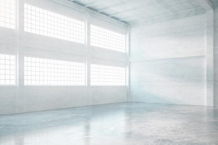 hangar: Hangar interior design with concrete floor, brick walls and windows. 3D Rendering