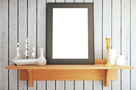 wooden shelf: Wooden shelf with blank picture frame, ship miniature and other decorative items on grey plank background. Mock up, 3D Rendering