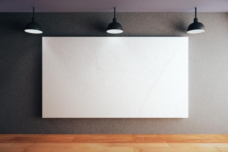 Blanco whiteboard op zwart betonnen muur in de kamer met houten vloer en plafond met lampen. Mock-up, 3D-rendering