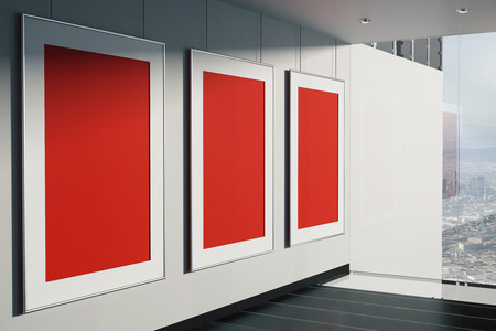 black floor: Blank red frames in room with concrete wall, black floor and window with city view. Mock up, 3D Rendering
