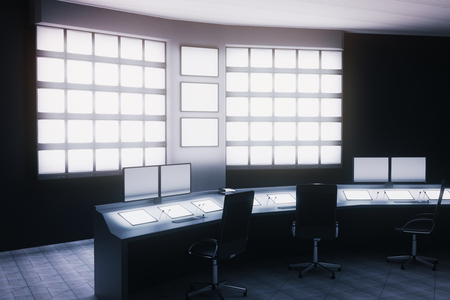 Side view of security room with desk, chairs and blank monitors. 3D Rendering